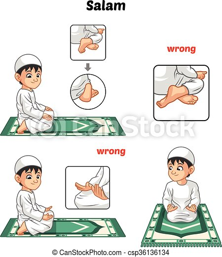 Muslim Prayer Position Guide Step By Step Perform By Boy With Wrong Position Csp36136134