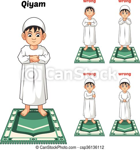 Muslim Prayer Position Guide Step By Step Perform By Boy With Wrong