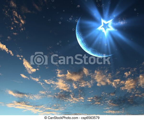 Muslim Star And Moon On Blue Sky Symbols Of Islam Religion Against