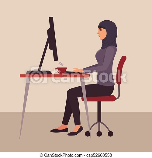 Muslim Woman At Work Vector Arab Business Character At Desk In Office