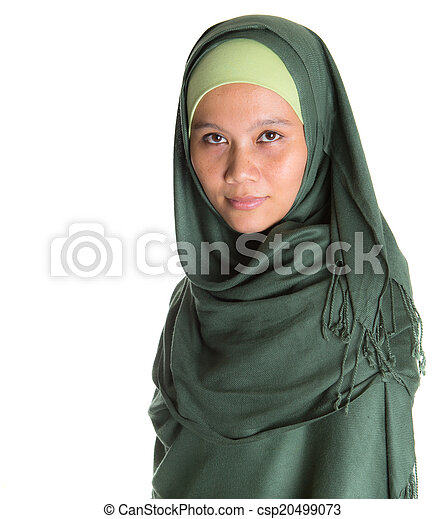 Muslim Woman In Green Hijab - csp20499073