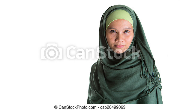 Muslim Woman In Green Hijab - csp20499063