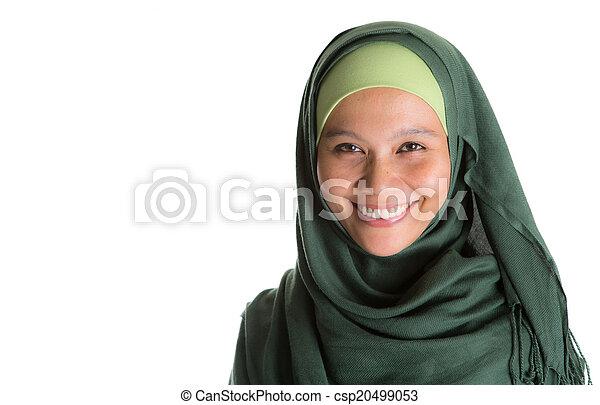 Muslim Woman In Green Hijab - csp20499053