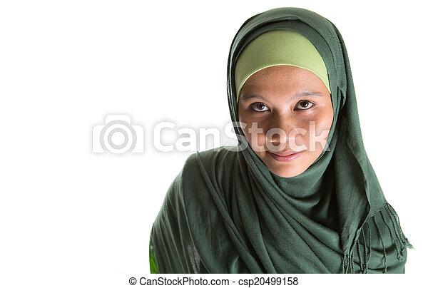 Muslim Woman In Green Hijab - csp20499158