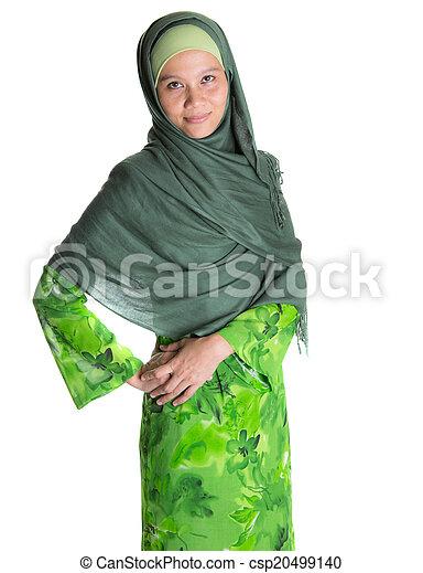 Muslim Woman In Green Hijab - csp20499140