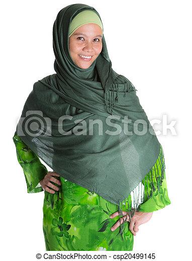 Muslim Woman In Green Hijab - csp20499145