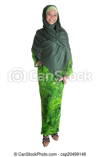 Muslim Woman In Green Hijab - csp20499146
