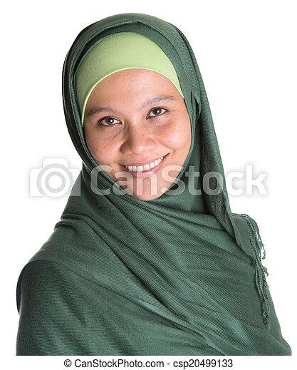 Muslim Woman In Green Hijab - csp20499133