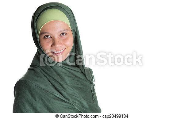 Muslim Woman In Green Hijab - csp20499134