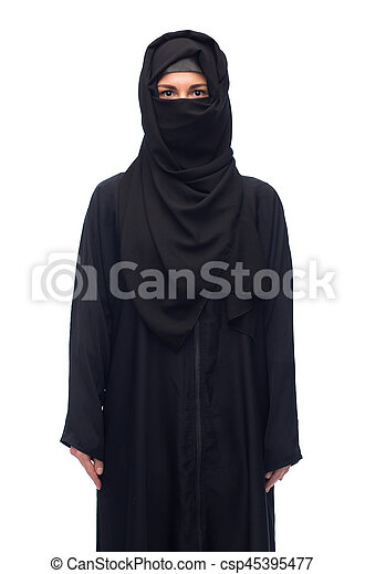 muslim woman in hijab over white background - csp45395477