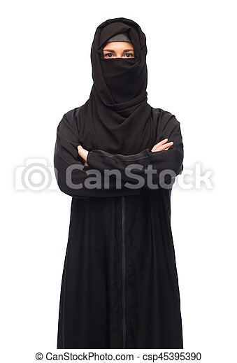 muslim woman in hijab over white background - csp45395390