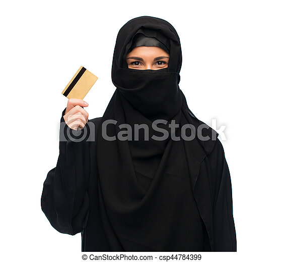 muslim woman in hijab with credit card over white - csp44784399