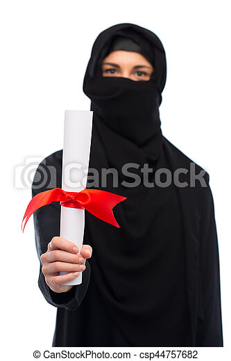muslim woman in hijab with diploma over white - csp44757682