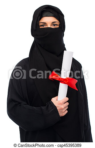 muslim woman in hijab with diploma over white - csp45395389