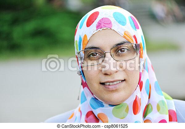 Muslim woman outdoors - csp8061525
