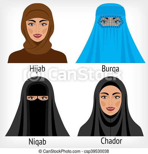 Muslim women in traditional headwear. vector illustration - eps 8. 59327638dda