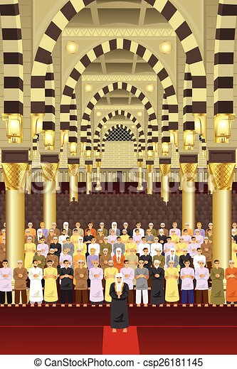 Muslims praying together in a mosque - csp26181145
