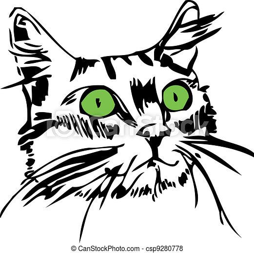 Muso occhi gatto verde for Gatto clipart