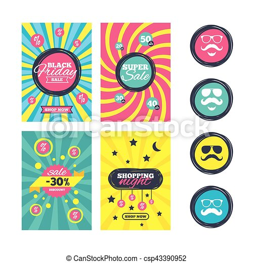 Mustache and Glasses icons. Hipster symbols. - csp43390952