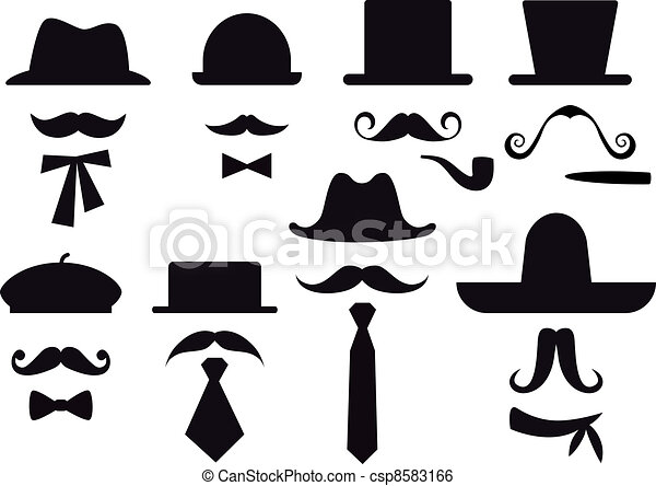 Mustache And Hats Vector Set Mustaches Hats And Ties