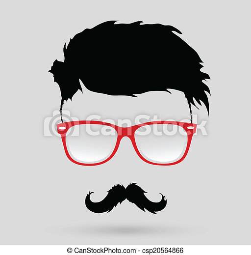 Mustache Beard And Hairstyle Hipster In Glasses