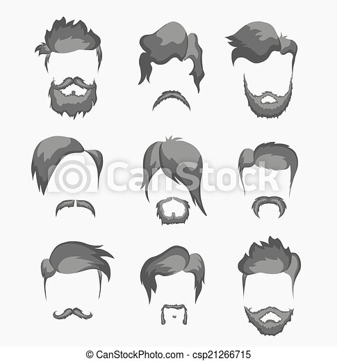 mustache, beard and hairstyle hipster - csp21266715
