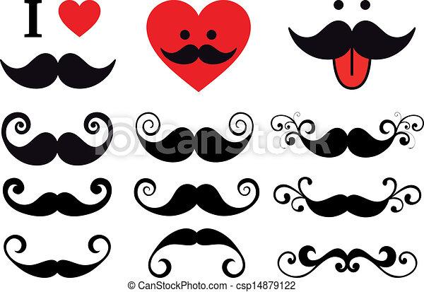 mustache design set, vector - csp14879122