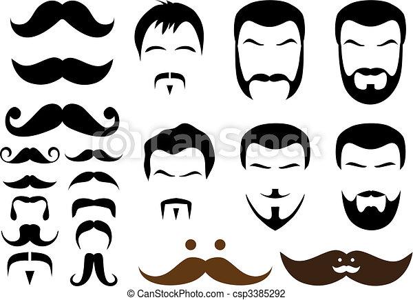 mustache designs. set of mustache and beard designs, vector vector
