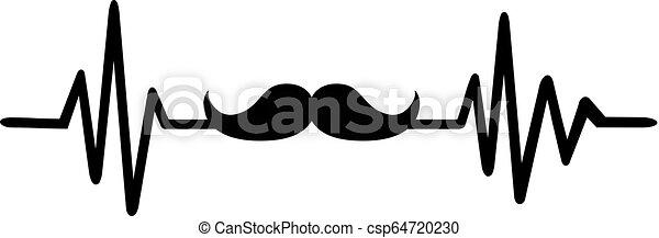 Mustache heartbeat line - csp64720230