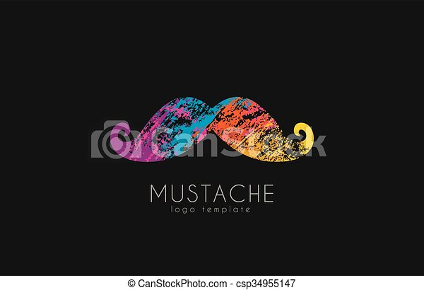 Mustache logo  Color mustache  Mustache in grunge style  Creative logo   Hipster logo