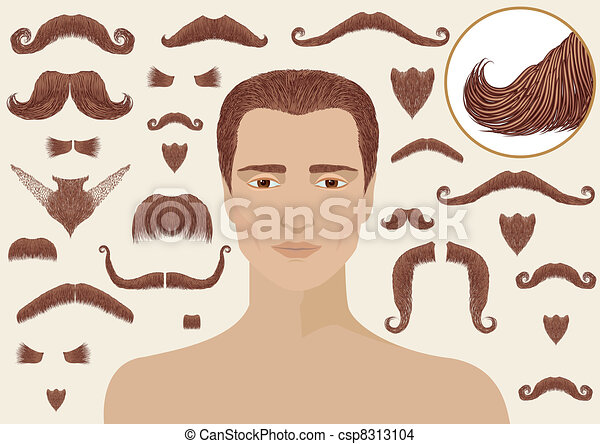 Mustaches and beards for man.Big collection isolated for design - csp8313104