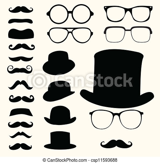 mustaches hats glasses - csp11593688