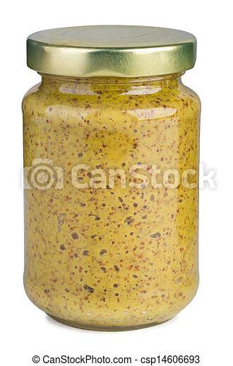 Mustard in a glass jar - csp14606693