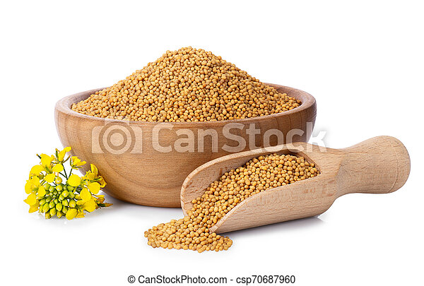 mustard seeds in wooden bowl - csp70687960