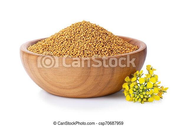mustard seeds in wooden bowl - csp70687959