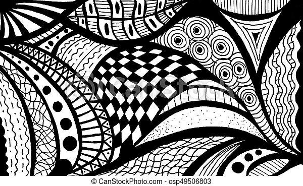 Muster Abstrakt Schwarz Weißes Welle Gemalt Muster Abstrakt