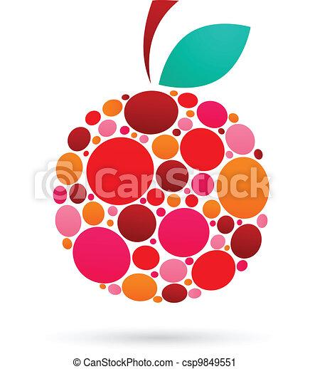 Apfel-Ikone mit dotiertem Muster - csp9849551