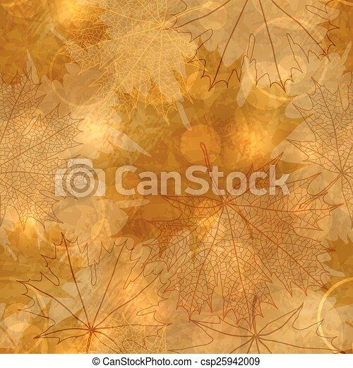 muster, blätter, -, seamless, abbildung, herbstlich, vektor - csp25942009