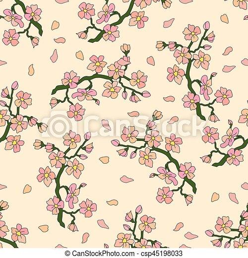 Nahtloses Muster mit Zweig der Kirschblüten. - csp45198033