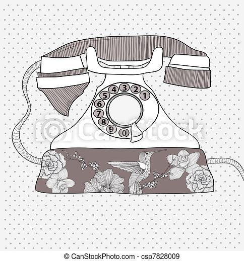 muster, blume, retro, telefon - csp7828009