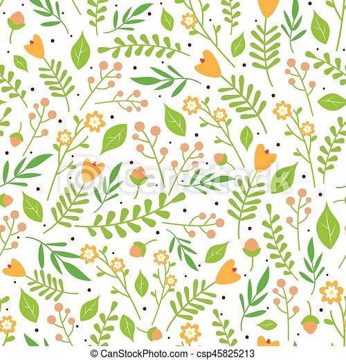 Muster, blumen-, hintergrund, orange, weisse blumen. Muster ...