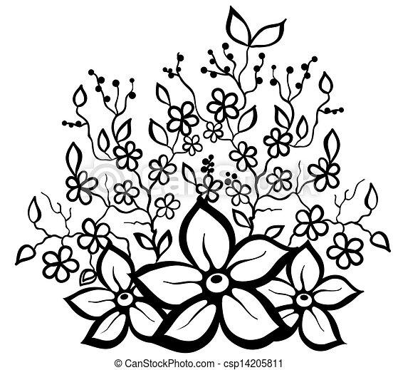 Muster- design, blumen-, schwarz, weißes, element. Profil, design ...