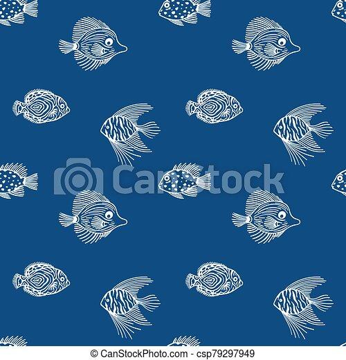 muster, fische, aquarium, markt, blaues, meer, entwerfen farbe, seaquarium, gebrauch, reizend, hintergrund., blue., seamless, geschäfte, plan - csp79297949