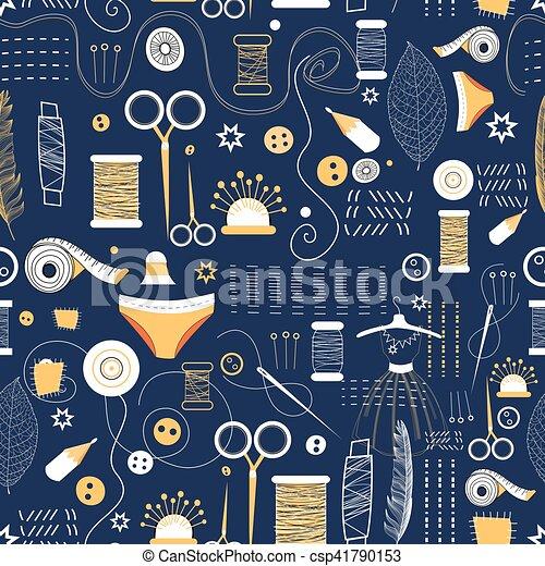 Muster, grafik, elemente, nähen. Blaues, grafik, muster,... Clipart ...