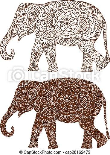 indische elefantenmuster. silhouette eines elefanten in den indischen mehendi mustern. | canstock