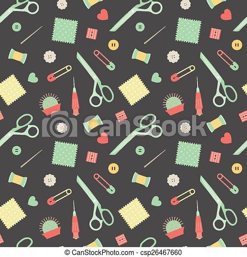 Muster, nähen, accessoirs. Muster, nähen, seamless,... Clipart ...