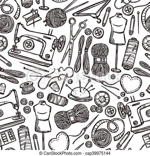 Muster, nähen, accessoirs. Ausrüstung, muster, nähen, seamless ...