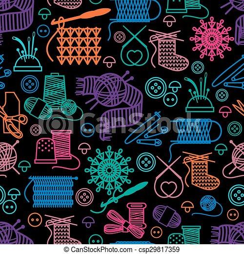 Muster, nähen, handarbeit, seamless. Nähen, stickerei,... Clipart ...