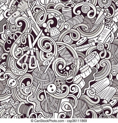Muster, nähen, handgearbeitet, seamless, doodles, karikatur. Kunst ...