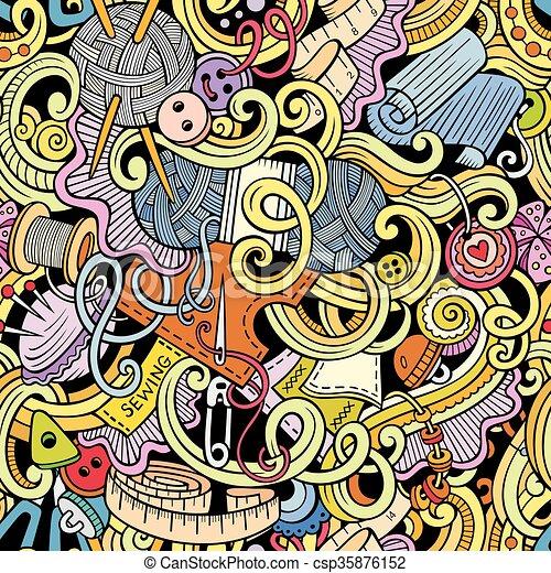 Muster, nähen, handgearbeitet, seamless, doodles, karikatur ...